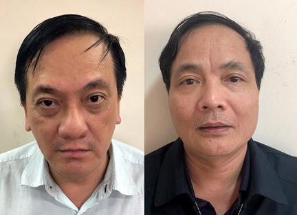 Hai bị can Trần Lục Lang và Kiều Đình Hòa vừa bị truy tố. Ảnh: Bộ Công an.