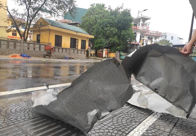 Cây cối gãy đổ và mái tôn bị gió thổi văng xuống đường tại TP Huế. Ảnh:Mỹ Hà