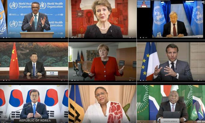 Các lãnh đạo tham dự cuộc họp trực tuyến của Đại hội đồng Y tế thế giới (WHA) hôm 18/5. Ảnh: WHO
