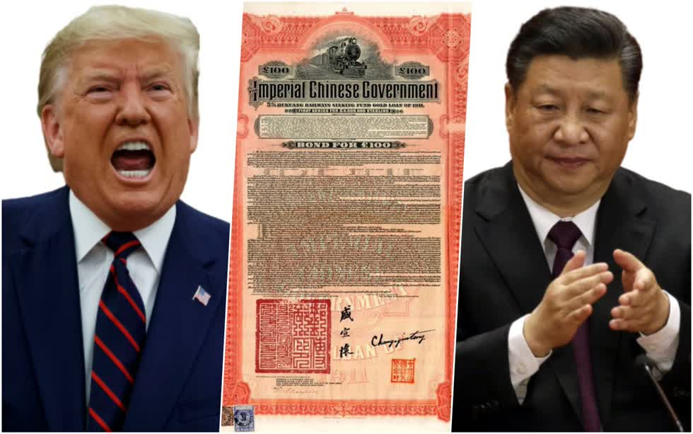 Tờ trái phiếu được phát hành năm 1911 dưới thời nhà Thanh (1644-1912) của Trung Quốc.