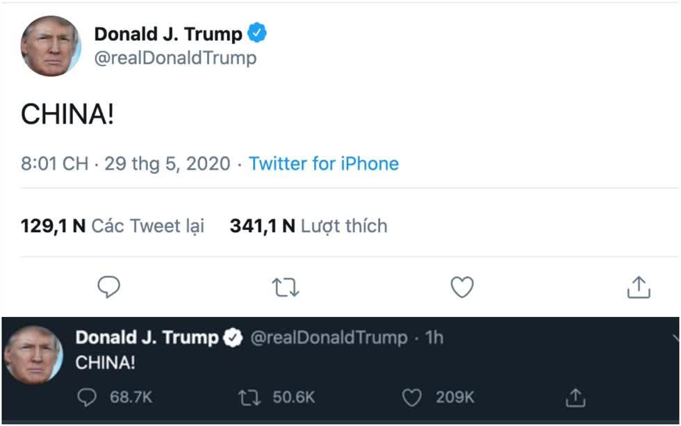 Dòng trạng thái độc một chữ của tổng thống Trump trên Facebook vàTwitter.