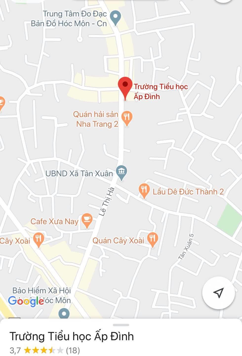 Vị trí trường Tiểu học Ấp Đình, xã Tân Xuân, huyệnHóc Môn, TP.HCM. Ảnh: chụp màn hình Google Maps