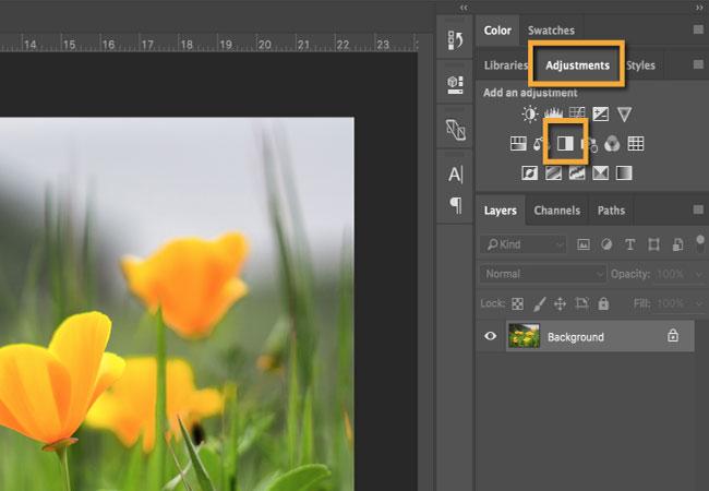 Một layer điều chỉnh Black & White mới sẽ xuất hiện trong bảng điều khiển Layers.