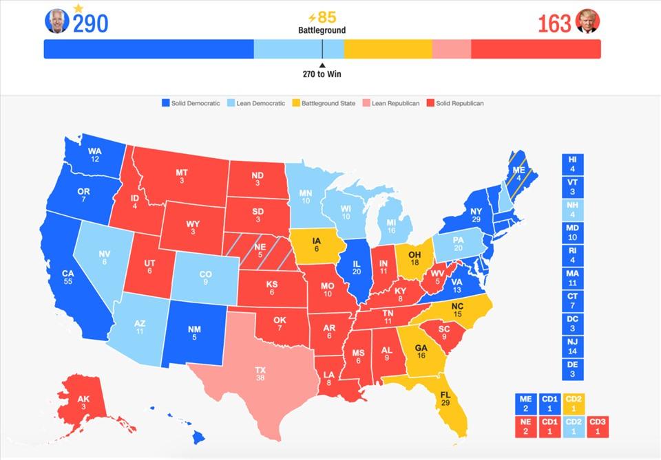 Bản đồ bầu cử của CNN.