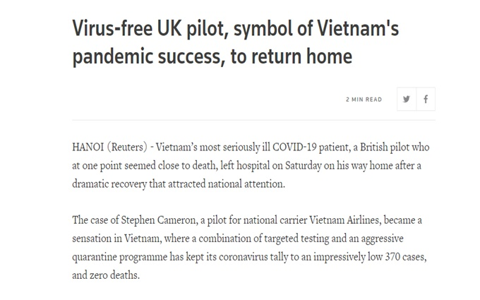 Báo Mỹ: Cứu bệnh nhân 91 là biểu tượng chống COVID-19 của Việt Nam