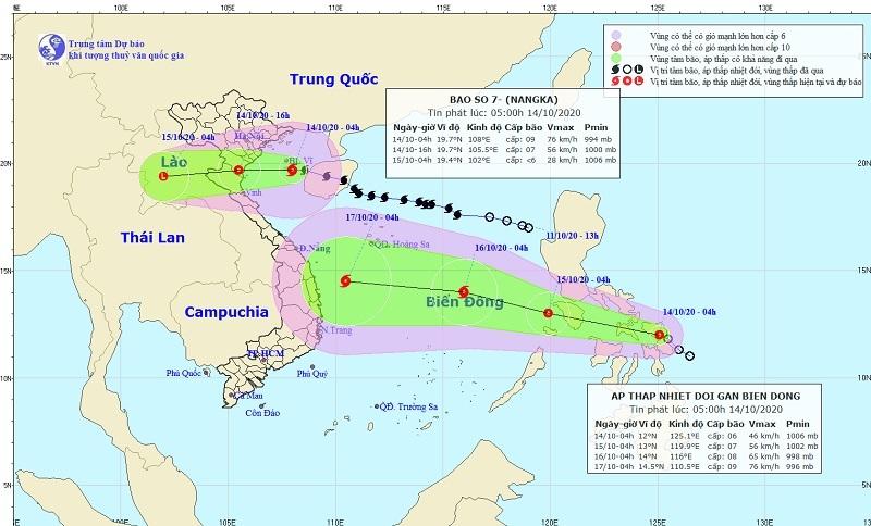 Hình ảnh dự báo vị trí và đường đi của bão số 7 từ 4h ngày 14/10 đến 4h ngày 16/10. (Nguồn: TTDBKTTVQG)