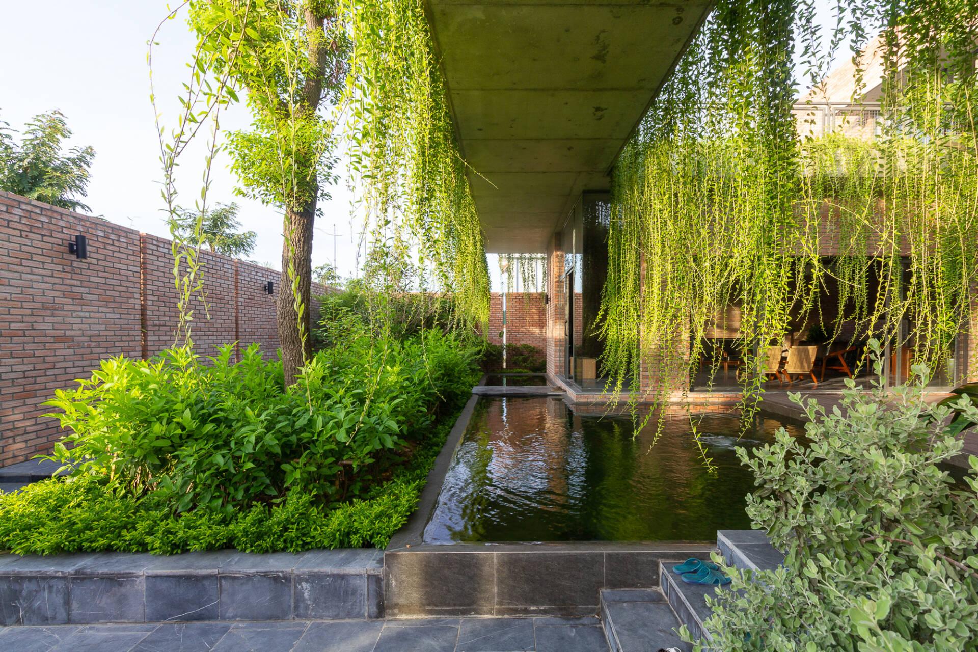 Cây cối, mặt nước… giúp gia chủ có thể cảm nhận được thiên nhiên dưới dạng không khí, âm thanh và ánh sáng.