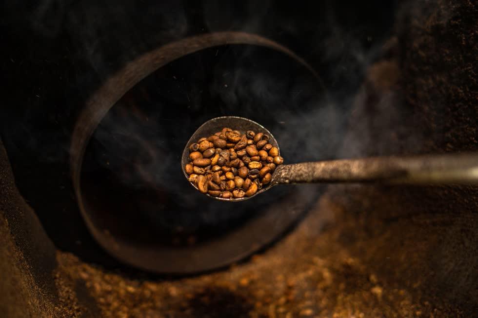 Kiểm tra hạt cà phê trong khi rang. Ảnh: AFP.