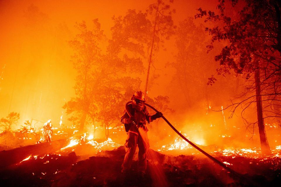 Một lính cứu hỏa dập tắt ngọn lửa khi họ tiến về nhà trong đám cháy Creek ở khu vực Cascadel Woods của Hạt Madera, California hôm 7/9. Ảnh: AFP.