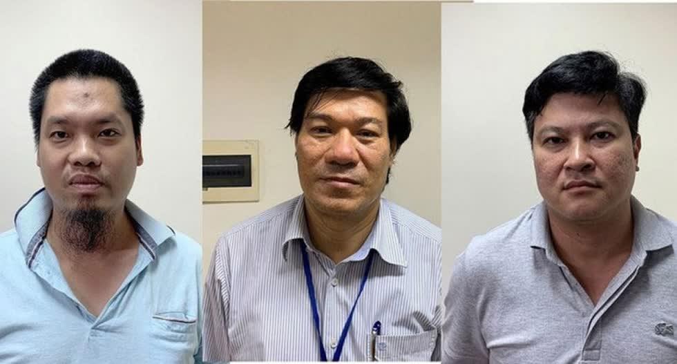 Cựu giám đốc CDC Hà Nội - Nguyễn Nhật Cảm (giữa) và đồng phạm. Ảnh: Internet