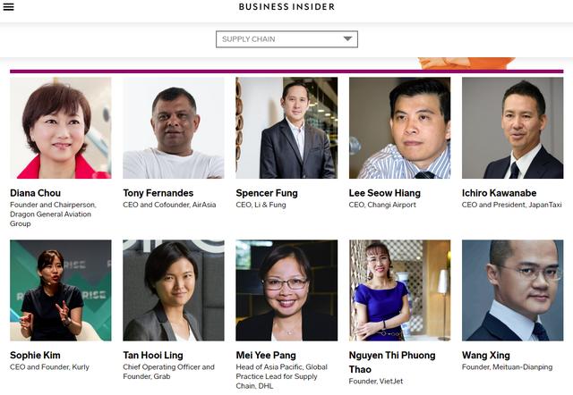 CEO VietjetNguyễn Thị Phương Thảo, nhân vật Việt Nam duy nhất trong danh sách, đứng thứ hai trong số 10 cá nhân có tên trong danh mục Chuỗi cung ứng ở châu Á.