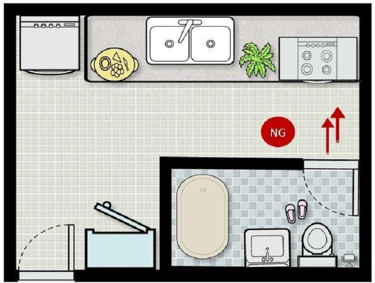 Phong thủy bếp rất kỵ việc đặt nhà bếp đối diện nhà vệ sinh.