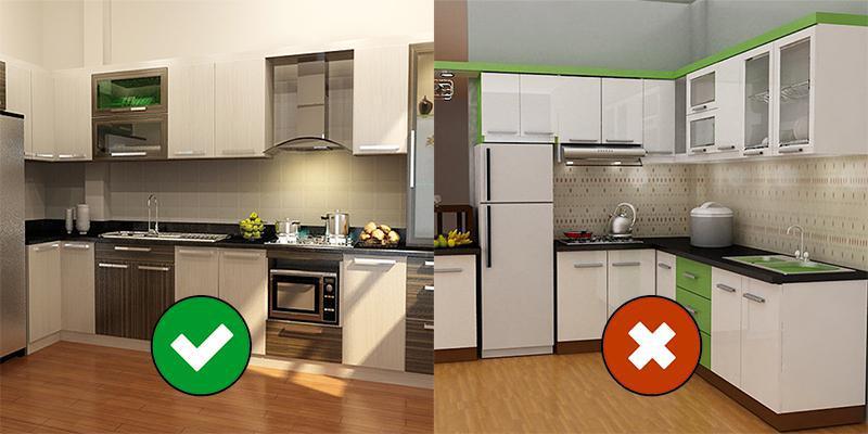 Bếp quá gần chậu rửa sẽ tạo ra năng lượng xung đột.