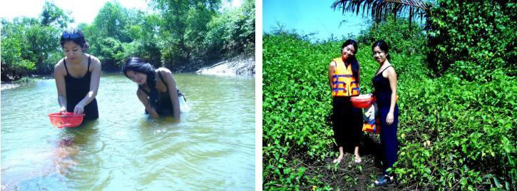 Học viên của Duyệt Thị Trang ra suối mò nghêu.