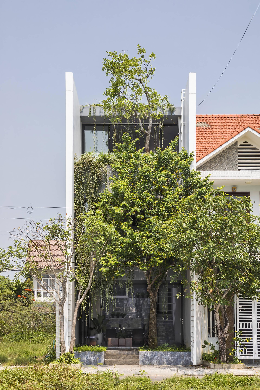 The Flow of Time House với mặt tiền xanh mát, lọc bớt không khí nóng vào nhà.