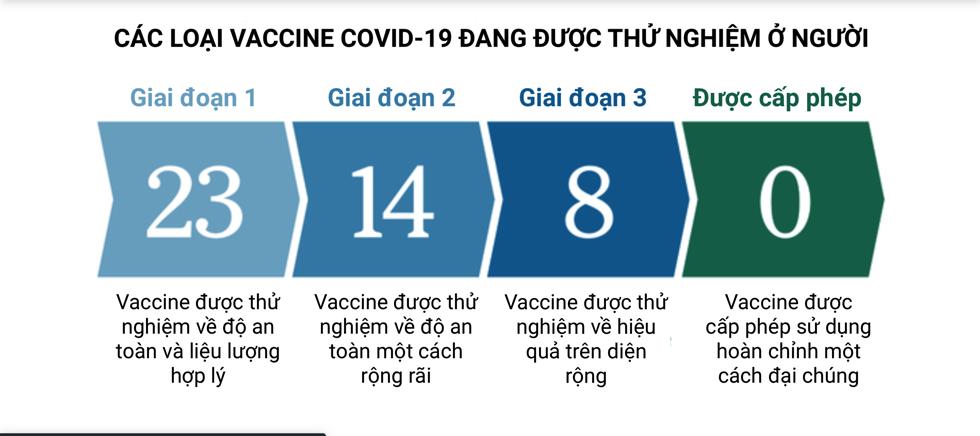 Mới có 8 loại vaccine chuẩn bị được cấp phép nếu thử nghiệm thành công. Đồ hoạ: Thời báo New York