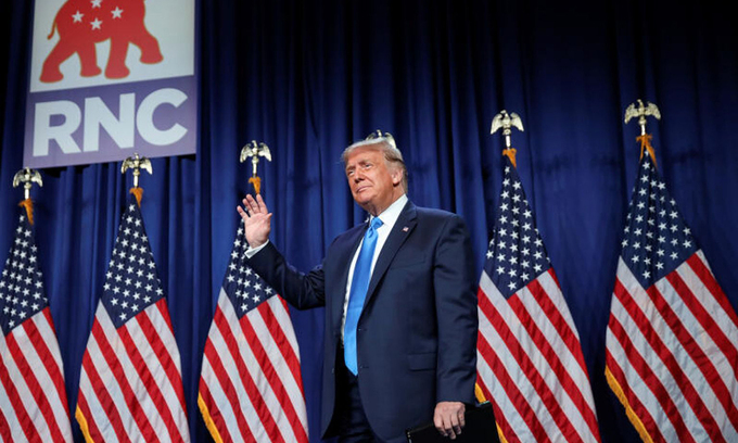 Tổng thống Donald Trump tại Đại hội đảng Cộng hòa ở Charlotte, Bắc Carolina hôm 24/8. Ảnh:Reuters.
