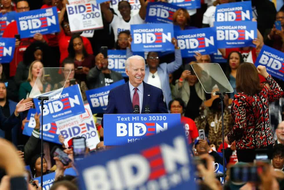 Ứng viên của Đảng Dân chủ Joe Biden trong chiến dịch vận động tranh cử Tổng thống Mỹ năm 2020 ở thành phố Detroit, Michigan, ngày 9/3/2020. Ảnh: AP