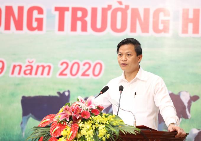 Ông Vương Quốc Tuấn, Ủy viên BTV Tỉnh ủy - Phó Chủ tịch UBND tỉnh Bắc Ninh chia sẻ về công tác triển khai chương trình Sữa học đường tại tỉnh Bắc Ninh từ năm 2013 đến nay.