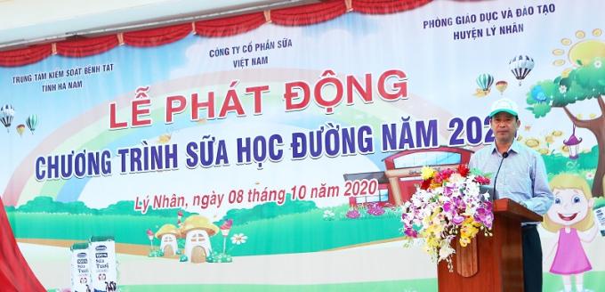 Ông Nguyễn Thanh Dương, Giám đốc Trung tâm Kiểm soát Bệnh tật tỉnh Hà chia sẻ tại lễ phát động.