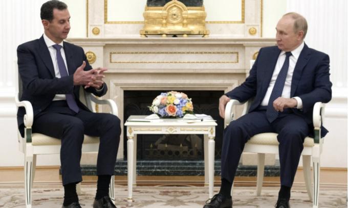 Tổng thống Putin tiếp Tổng thống Syria,Bashar al-Assad tại Điện Kremlin ngày 13/9. Ảnh: AFP