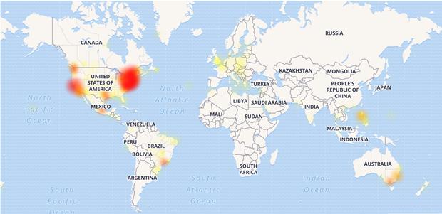 Đa phần sự cố được ghi nhận tại khu vực Bắc Mỹ. (Ảnh chụp màn hình)