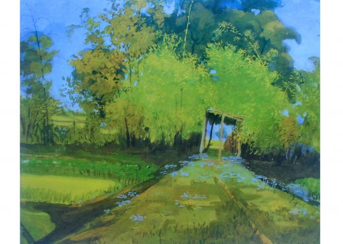 Bức tranh Cổng làng xưa của Họa sỹ Nguyễn Đình Huống, trưởng thành từ phong trào Mỹ thuật quần chúng, được giới chuyên môn đánh giá rất cao, hiện đang được trưng bày tại Bảo tàng Mỹ thuật Việt Nam.