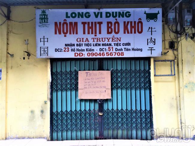 Quán Thịt bò khô gia truyền trên Hồ Hoàn Kiếmthông báo tạm ngừng bán hàng