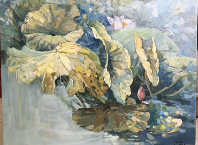 Tác phẩm sơn dầu Hoa sen của Đỗ Đức Khải