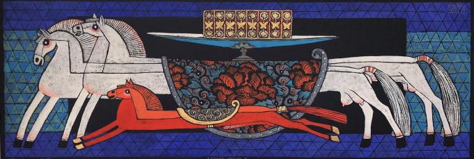 """""""Tam mã"""", bản in khắc gỗ, kích thước 40x110cm của họa sĩ Vũ Đình Tuấn sẽ góp mặt tại phiên đấu giá sắp tới"""