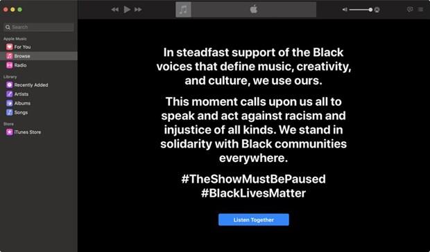 Apple Music tham gia làn sóng phản đối phân biệt chủng tộc. (Ảnh: 9to5Mac)