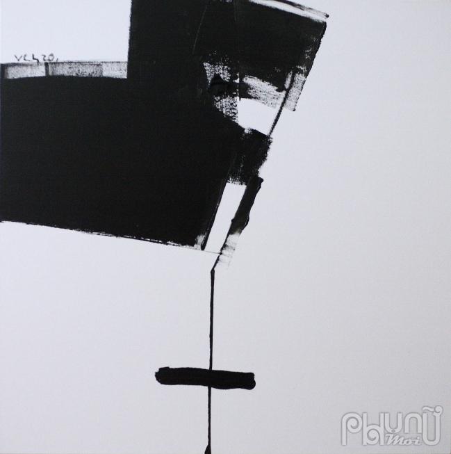 Những mảng trống nền trong tranh của Nguyễn Vân Chung tạo ra những khoảng lặng, không gian cho người xem thả sức tưởng tượng và suy ngẫm
