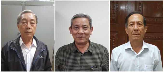 Từ trái qua: Ông Lê Tôn Thanh, ông Lê Văn Thanh và ông Huỳnh Kim Phát. Ảnh: BCA