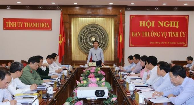 Ông Đỗ Trọng Hưng,Bí thư Tỉnh ủy Thanh Hóa phát biểu tại Hội nghị về Chương trình phát triển Khu kinh tế Nghi Sơn và các Khu công nghiệp, giai đoạn 2021 – 2025