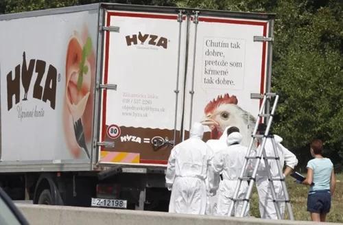 71 người di cư thiệt mạng trong chiếc xe tải chở gà khóa kínbị bỏ lại trên đường cao tốc ở Áo.