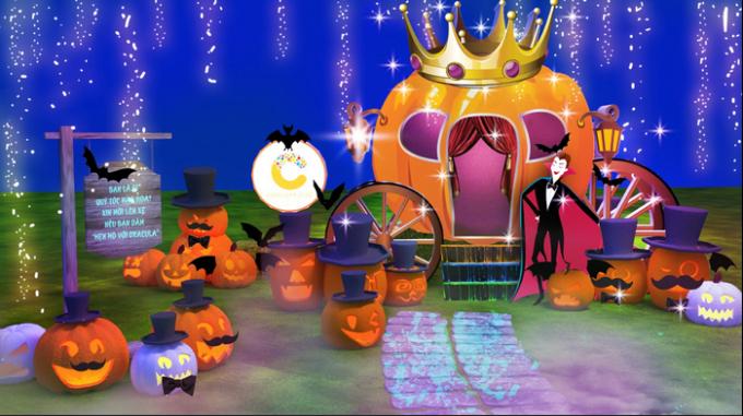 Các bé sẽ được thỏa thích vui chơi trong không gian náo nhiệt với các hoạt động Halloween.