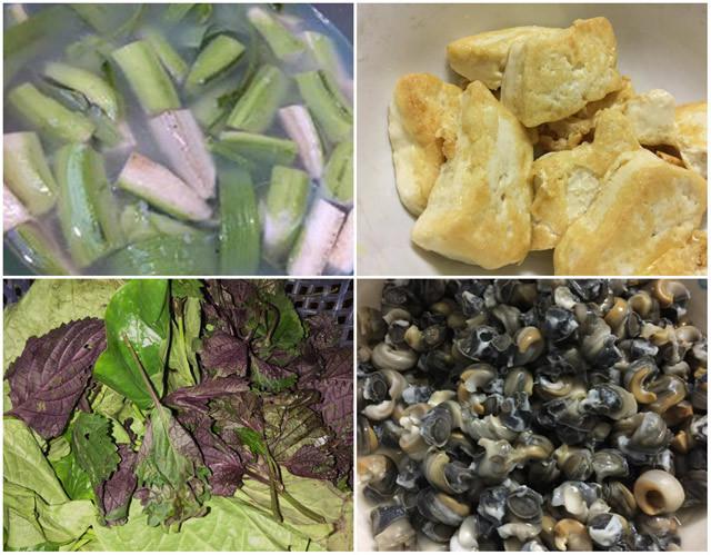 Nguyên liệu làm món ốc nấu chuối đậu rất đơn sơ, rẻ tiền và dễ chế biến.