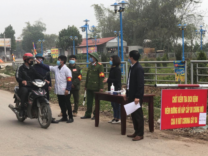 Một chốt kiểm soát dịch bệnh trên địa bàn xã Sơn Lôi được thành lập thời gian vừa qua.
