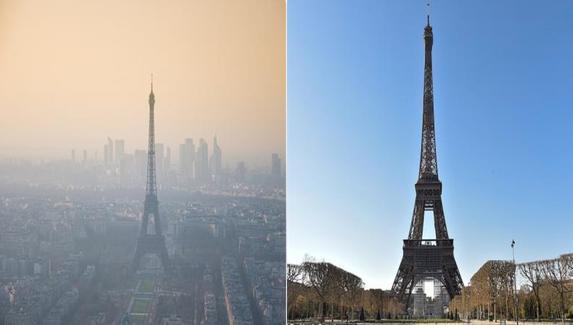 Paris ô nhiễm và Paris trong lành nhờ lệnh giãn cách xã hội.