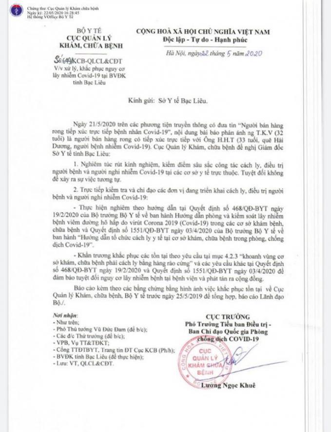 Văn bản của Bộ Y tế gửi Sở Y tế tỉnh Bạc Liêu về việc xử lý, khắc phục nguy cơ lây nhiễm COVID-19 tại BVĐK tỉnh Bạc Liêu.