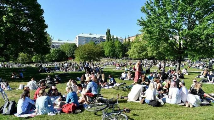 Người dân Thụy Điển phơi nắng tại một công viên ở Stockholmhôm 30/5. Ảnh:Reuters