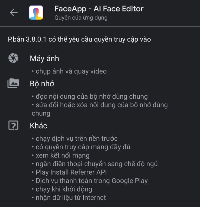 Một số quyền truy cập của FaceApp vượt quá giới hạn của một ứng dụng chỉnh ảnh.