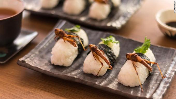 Món sushi châu chấu này không lạ ở Nhật. Người ta còn có sushi ong, sushi trứng chuồn chuồn nữa.