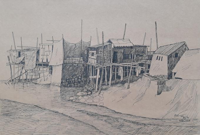 Hơi thở của biển - Bút sắt, tranh của Nguyễn Minh