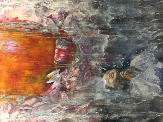 Biển than - Sơn dầu, tranh của Nguyễn Tấn Phát