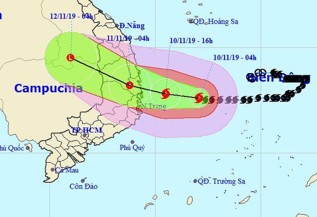 Đường đi dự kiến của bão số 6