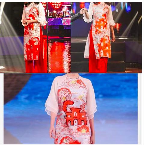 NTK Thuỷ Nguyễn so sánh hoa văn 2 bộ áo dài trong BST của thương hiệu TQ và của mình