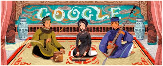 Google Doodle ngày 23/2 do hoạ sĩ Xuân Lê thực hiện