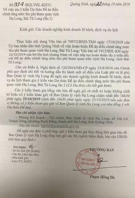 Ngày 22/10, các doanh nghiệp kinh doanh lữ hành, dịch vụ du lịch đang hoạt động trên địa bàn Quảng Ninh nhận được văn bản xin ý kiến cho dự thảo đề án điều chỉnh tăng mức thu phí tham quan vịnh Hạ Long, vịnh Bái Tử Long