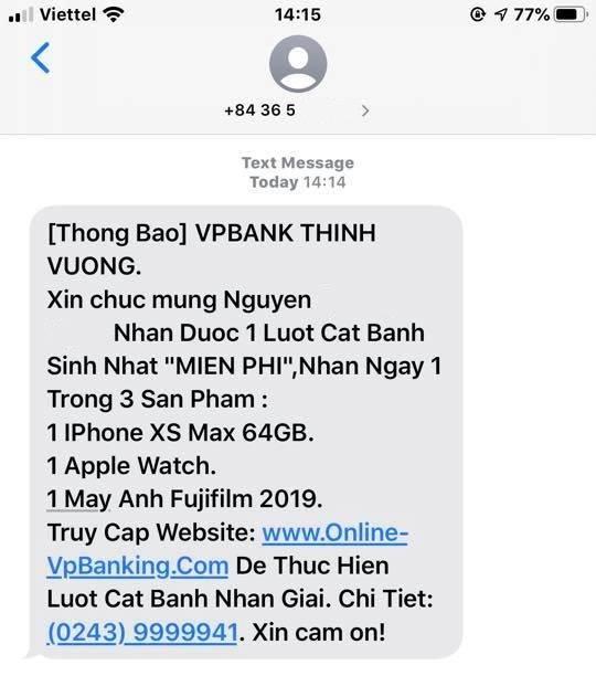 Cảnh báo chiến dịch lừa đảo mạo danh ngân hàng VPBank